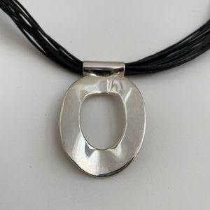 Silver Pendant with Black Multi-Strand Cord